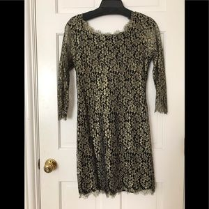 Diane Von Furstenberg black gold lace dress 10